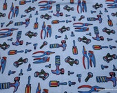 Flannel Fabric - Tools Light Blue - By the yard - 100% Cotton Flannel