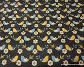 Flannel Fabric - Pretty Birds - By the yard - 100% Cotton Flannel