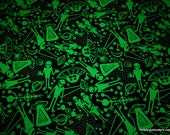 Glow in the Dark Flannel Fabric - Aliens Glow - By the yard - 100% Cotton Flannel