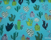 Flannel Fabric - Colorful Cacti on Aqua - By the yard - 100% Cotton Flannel