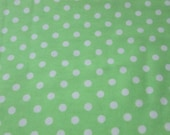 Flannel Fabric - Green Apple with White Dots - By the yard - 100% Cotton Flannel