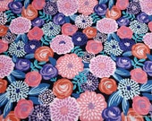 Flannel Fabric - Modern Floral Navy - By the yard - 100% Cotton Flannel