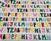 Flannel Fabric - Alphabet Letters in Line - By the yard - 100% Cotton Flannel