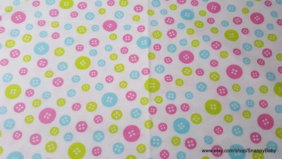 Flannel Fabric - Baby Buttons - By the yard - 100% Cotton Flannel