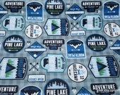 Flannel Fabric - Adventure Patches Blue - By the Yard - 100% Cotton Flannel