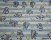 Flannel Fabric - Sweet Elephants on Stripes - By the yard - 100% Cotton Flannel