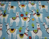 Flannel Fabric - Aztec Llama in Line - By the yard - 100% Cotton Flannel