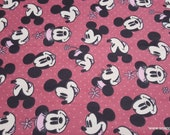 Character Flannel Fabric - Disney Mickey and Minnie Head Toss - By the yard - 100% Cotton Flannel
