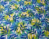 Flannel Fabric - Blue Green Foliage - By the yard - 100% Cotton Flannel