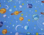 Flannel Fabric - Multi Planets on Blue - By the yard - 100% Cotton Flannel
