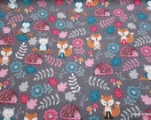 Flannel Fabric - Floral Animals - By the yard - 100% Cotton Flannel