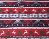 Christmas Flannel Fabric - Holiday Stripe - By the yard - 100% Cotton Flannel