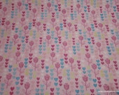 Flannel Fabric - Flowers and Hearts Pink - By the yard - 100% Cotton Flannel