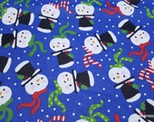 Christmas Flannel Fabric - Colorful Snowman Faces - By the yard - 100% Cotton Flannel