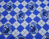 Character Flannel Fabric - Harry Potter Argyle and Ravenclaw - By the yard - 100% Cotton Flannel
