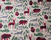 Flannel Fabric - Pattern Trap Woodland Animals - By the yard - 100% Cotton Flannel