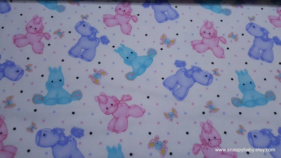 Flannel Fabric - Ponies and Butterflies on White - By the yard - 100% Cotton Flannel