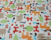 Flannel Fabric - Baby Woodland - By the yard - 100% Cotton Flannel