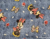Flannel Fabric - Disney Minnie Mouse Floral Allover - By the yard - 100% Cotton Flannel