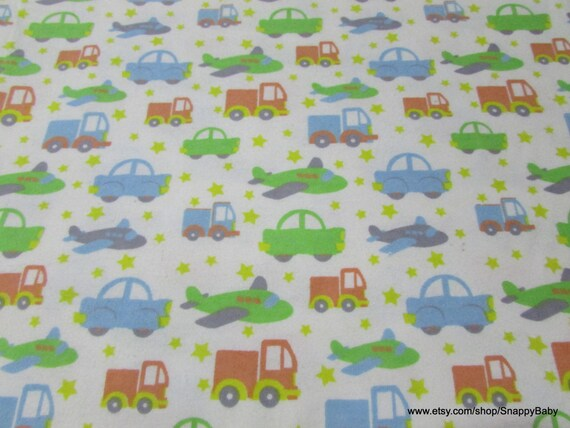 Flannel Fabric - Bedtime Cars - By the yard - 100% Cotton Flannel