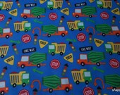 Flannel Fabric - Construction Trucks on Blue - By the yard - 100% Cotton Flannel