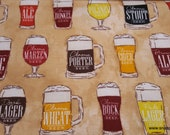 Flannel Fabric - Beer Varieties - By the yard - 100% Cotton Flannel