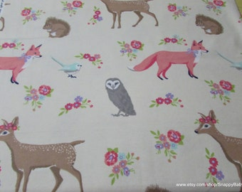 Flannel Fabric - Sweet Forest Creatures - By the yard - 100% Cotton Flannel