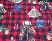 Flannel Fabric - Wilderness Pack on Check - By the yard - 100% Cotton Flannel