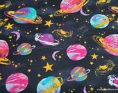 Flannel Fabric - Watercolor Space - By the yard - 100% Cotton Flannel