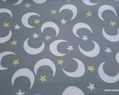 Flannel Fabric - Sleepy Gray Moon and Stars - By the yard - 100% Cotton Flannel