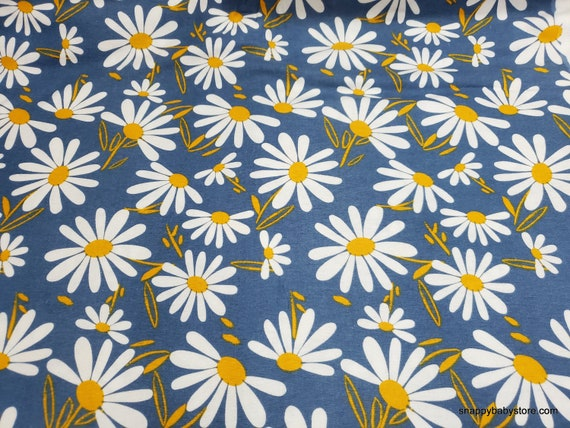 Flannel Fabric - Daisies on Blue - By the yard - 100% Cotton Flannel