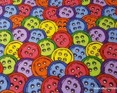 Flannel Fabric - Multi Color Buttons - By the yard - 100% Cotton Flannel