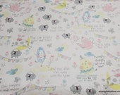 Flannel Fabric - Nursery Rhymes Allover on White - By the yard - 100% Cotton Flannel