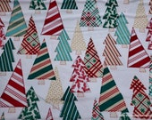 Christmas Flannel Fabric - Pattern Trap Christmas Trees -By the Yard - 100% Cotton Flannel