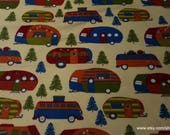 Flannel Fabric - Campers and Pines - By the yard - 100% Cotton Flannel