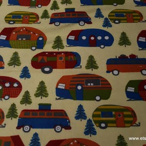 100/% Cotton Flannel Bright Campers Flannel Fabric By the Yard