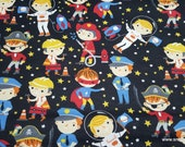 Flannel Fabric - Boy Dress Up Time - By the Yard - 100% Cotton Flannel
