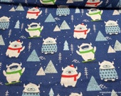 Flannel Fabric - Ski Yeti - By the yard - 100% Cotton Flannel
