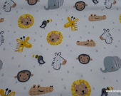 Flannel Fabric - Safari Heads - By the yard - 100% Cotton Flannel