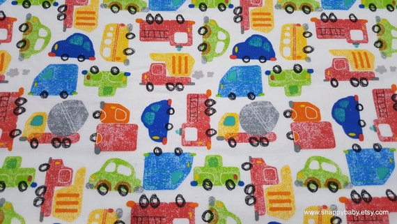 Flannel Fabric - Cars and Trucks Colored - By the yard - 100% Cotton Flannel