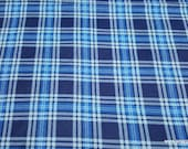 Flannel Fabric - Hadley Plaid Navy - By the Yard - 100% Cotton Flannel