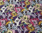 Character Flannel Fabric - My Little Pony Packed - By the yard - 100% Cotton Flannel