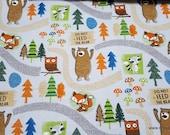 Flannel Fabric - Woodland Bear Trail - By the yard - 100% Cotton Flannel