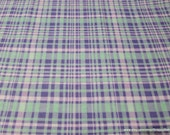 Flannel Fabric - Purple Blue Plaid - By the Yard - 100% Cotton Flannel