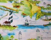 Flannel Fabric - Lighthouse Destinations - By the yard - 100% Cotton Flannel