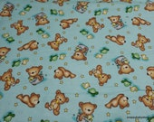 Flannel Fabric - Teddy Time Blue - By the yard - 100% Cotton Flannel
