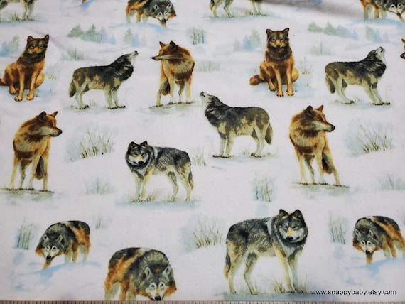 Flannel Fabric - Photo Real Wolves - By the Yard - 100% Cotton Flannel