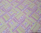 Flannel Fabric - Ikat Diamond Pastel Pink Yellow - By the yard - 100% Cotton Flannel