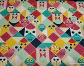 Flannel Fabric - Owl Packed Geo - By the yard - 100% Cotton Flannel