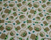 Character Flannel Fabric - Child and Frog Tossed on White - By the yard - 100% Cotton Flannel